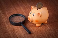 Piggy bank by magnifying glass Royalty Free Stock Photography