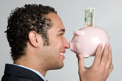 Piggy Bank Man Stock Photography