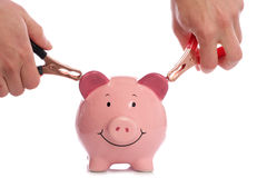 Piggy bank with man holding battery charger Stock Photos