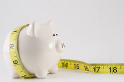 Piggy bank with measure tape. Concept of saving money on fitness and health, loosing weight. Shallow depth of field Stock Photo