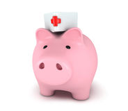 Piggy bank with medical hat Stock Photography