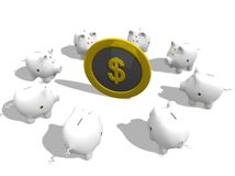 Piggy bank meeting. Arround a coin over a white background Royalty Free Stock Photo