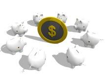 Piggy bank meeting Royalty Free Stock Photo