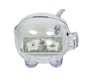 Piggy Bank with a Million Dollars Royalty Free Stock Photos