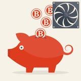 Piggy bank with mining bitcoins Stock Photos