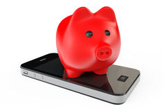 Piggy Bank with Mobile Phone. On a white background Stock Photo