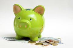 Piggy bank and money Stock Image