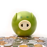 Piggy bank and money Royalty Free Stock Images