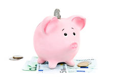 Piggy bank with money. On white Stock Images