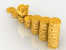 Piggy bank and money Stock Photos
