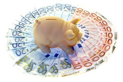 Piggy bank and money Stock Images