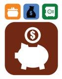Piggy bank and money. Vector color piggy bank and money set on white Stock Photos