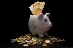 Piggy Bank with money. On the black backgroud Royalty Free Stock Image