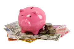 Piggy bank and money Royalty Free Stock Photo