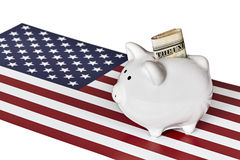 Piggy Bank with Money and  American Flag Stock Images