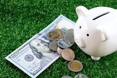Piggy bank and money on artificial green grass background. Copy space save saving coin pile rich finance business investment cash currency wealth financial royalty free stock image