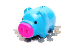 Piggy bank or money box and coins . Stock Photo
