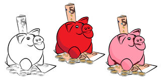 Piggy bank with money. Royalty Free Stock Image
