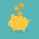 Piggy bank money box with coins. Vector illustration Royalty Free Stock Images