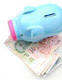 Piggy bank money box with money top view isolate Royalty Free Stock Images