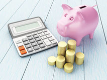 Piggy bank with money and calculator. 3D Illustration. Piggy bank with money and calculator. Business and finance concept Stock Image