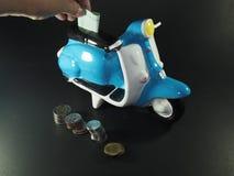 Piggy bank money. Piggy bank & money cash investing moneybox Stock Photos