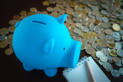 Piggy bank with the money coin in background Royalty Free Stock Photo