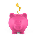 Piggy Bank and Money Coin. Isolated on white background. 3D render Royalty Free Stock Image