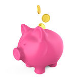 Piggy Bank and Money Coin. Isolated on white background. 3D render Stock Photo