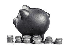 Piggy bank money coins. Black and white. Royalty Free Stock Photos
