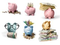 Piggy. Bank money coins currency change saving Stock Photography