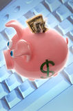 Piggy bank with money and computer keyboard; internet selling, s. This stock photo shows a pink piggy bank with money coming out the top, and a computer keyboard Stock Photo