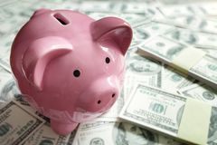 Piggy bank on money concept for business finance, investment and Stock Photo