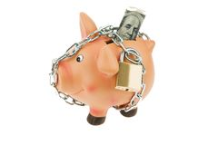 Piggy bank with money and the dollar chain Royalty Free Stock Images