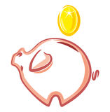 Piggy bank. Money and financ. Piggy bank with a coin on a white background Stock Photos