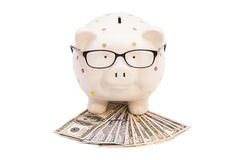 Piggy bank with money and glasses Royalty Free Stock Photos