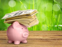 Piggy bank with money on green background Royalty Free Stock Photo