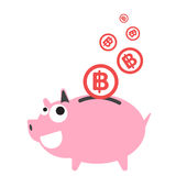 Piggy bank money happy, currency Baht symbol coin falling Stock Photo