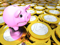 Piggy bank on money Stock Images