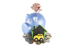 Piggy bank and money ideas for saving on white background with c Royalty Free Stock Photography