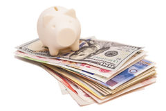 Piggy bank on money Royalty Free Stock Image