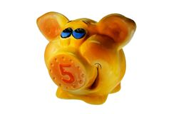 Piggy Bank for money orange pig with snout royalty free stock photo