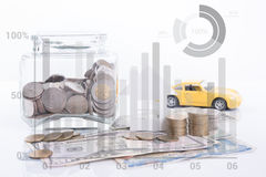 Piggy bank money, pile coin with account book and paper home royalty free stock photo