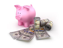 Piggy Bank with Money Rolls Stock Images