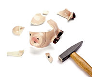 Piggy bank money savings finance broken hammer Stock Photography