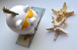 Piggy bank money savings vacation concept. Piggy bank money savings and starfish on a white background Royalty Free Stock Photo