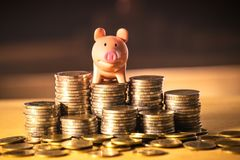 A piggy bank on money stack for saving money concept, Space of business planning ideas, insurance life in future. A piggy banking on money stack for saving stock photography