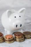 Piggy bank and money towers Stock Photos