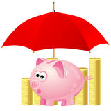 Piggy-bank and money under red umbrella Stock Photo