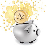 Piggy bank and money, vector illustration Stock Photos